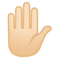 Raised Hand: Light Skin Tone on Google Android 8.0