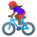 Woman Biking: Medium-Dark Skin Tone on Google Android 8.0