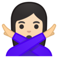 Woman Gesturing No: Light Skin Tone on Google Android 8.0