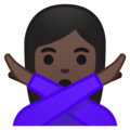 Woman Gesturing No: Dark Skin Tone on Google Android 8.0