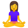 Woman in Lotus Position on Google Android 8.0