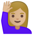 Woman Raising Hand: Medium-Light Skin Tone on Google Android 8.0