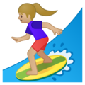 Woman Surfing: Medium-Light Skin Tone on Google Android 8.0