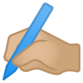 Writing Hand: Medium-Light Skin Tone on Google Android 8.0