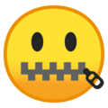 Zipper-Mouth Face on Google Android 8.0