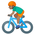 Person Biking: Medium Skin Tone on Google Android 8.1