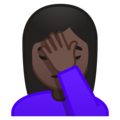 Person Facepalming: Dark Skin Tone on Google Android 8.1