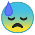 Downcast Face With Sweat on Google Android 8.1
