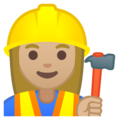 Woman Construction Worker: Medium-Light Skin Tone on Google Android 8.1