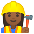 Woman Construction Worker: Medium-Dark Skin Tone on Google Android 8.1