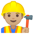 Man Construction Worker: Medium-Light Skin Tone on Google Android 8.1
