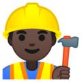 Man Construction Worker: Dark Skin Tone on Google Android 8.1