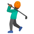 Man Golfing: Medium-Dark Skin Tone on Google Android 8.1