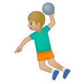 Man Playing Handball: Medium-Light Skin Tone on Google Android 8.1
