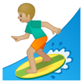 Man Surfing: Medium-Light Skin Tone on Google Android 8.1