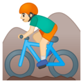 Person Mountain Biking: Light Skin Tone on Google Android 8.1