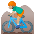 Person Mountain Biking: Medium-Light Skin Tone on Google Android 8.1