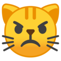 Pouting Cat Face on Google Android 8.1