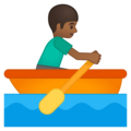 Person Rowing Boat: Medium-Dark Skin Tone on Google Android 8.1