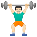 Person Lifting Weights: Light Skin Tone on Google Android 8.1