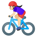 Woman Biking: Light Skin Tone on Google Android 8.1