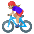 Woman Biking: Medium-Light Skin Tone on Google Android 8.1