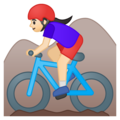 Woman Mountain Biking: Light Skin Tone on Google Android 8.1