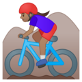 Woman Mountain Biking: Medium Skin Tone on Google Android 8.1