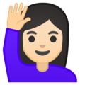 Woman Raising Hand: Light Skin Tone on Google Android 8.1