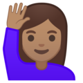 Woman Raising Hand: Medium Skin Tone on Google Android 8.1