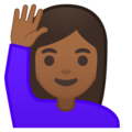 Woman Raising Hand: Medium-Dark Skin Tone on Google Android 8.1