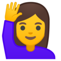 Woman Raising Hand on Google Android 8.1