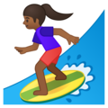 Woman Surfing: Medium-Dark Skin Tone on Google Android 8.1