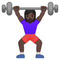 Woman Lifting Weights: Dark Skin Tone on Google Android 8.1