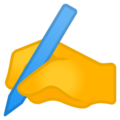 Writing Hand on Google Android 8.1