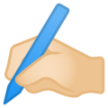 Writing Hand: Light Skin Tone on Google Android 8.1