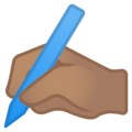 Writing Hand: Medium Skin Tone on Google Android 8.1