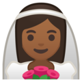Bride With Veil: Medium-Dark Skin Tone on Google Android 9.0