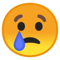 Crying Face on Google Android 9.0