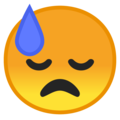 Downcast Face With Sweat on Google Android 9.0