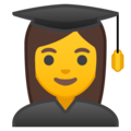 Woman Student on Google Android 9.0