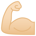 Flexed Biceps: Light Skin Tone on Google Android 9.0