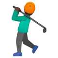 Person Golfing: Dark Skin Tone on Google Android 9.0