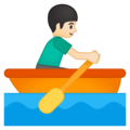 Man Rowing Boat: Light Skin Tone on Google Android 9.0