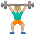 Man Lifting Weights: Medium-Light Skin Tone on Google Android 9.0