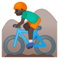 Person Mountain Biking: Dark Skin Tone on Google Android 9.0
