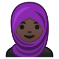 Person With Headscarf: Dark Skin Tone on Google Android 9.0