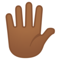 Hand With Fingers Splayed: Medium-Dark Skin Tone on Google Android 9.0