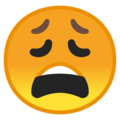 Weary Face on Google Android 9.0