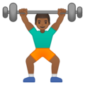 Person Lifting Weights: Medium-Dark Skin Tone on Google Android 9.0
